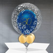 Personalisable Inflated Navy Blue and Gold Geode 30th Birthday | Fancy Filigree Balloon Filled Bubble Balloon in a Box