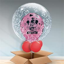 Personalisable Inflated Mickey and Minnie Mouse I Love You | Fancy Filigree Balloon Filled Bubble Balloon in a Box