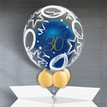 Personalisable Inflated Navy Blue and Gold Geode 30th Birthday | Birthday Balloons and Stars Balloon Filled Bubble Balloon in a Box