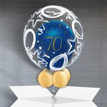 Personalisable Inflated Navy Blue and Gold Geode 70th Birthday | Birthday Balloons and Stars Balloon Filled Bubble Balloon in a Box