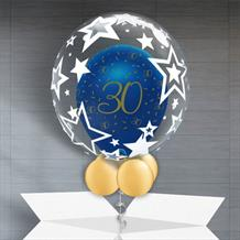 Personalisable Inflated Navy Blue and Gold Geode 30th Birthday | Stars Balloon Filled Bubble Balloon in a Box