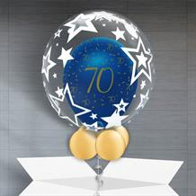 Personalisable Inflated Navy Blue and Gold Geode 70th Birthday | Stars Balloon Filled Bubble Balloon in a Box