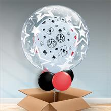 Personalisable Inflated Casino | Cards and Dice | Stars Balloon Filled Bubble Balloon in a Box