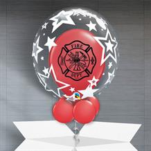 Personalisable Inflated Fire Dept | Stars Balloon Filled Bubble Balloon in a Box