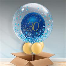 Personalisable Inflated Navy Blue and Gold Geode 30th Birthday | Blue Confetti Dots Balloon Filled Bubble Balloon in a Box