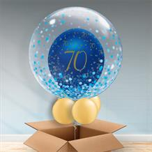 Personalisable Inflated Navy Blue and Gold Geode 70th Birthday | Blue Confetti Dots Balloon Filled Bubble Balloon in a Box