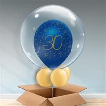 Personalisable Inflated Navy Blue and Gold Geode 30th Birthday Balloon Filled Bubble Balloon in a Box