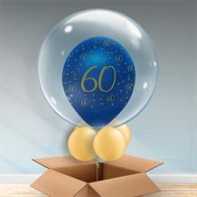 Personalisable Inflated Navy Blue and Gold Geode 60th Birthday Balloon Filled Bubble Balloon in a Box