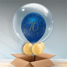Personalisable Inflated Navy Blue and Gold Geode 70th Birthday Balloon Filled Bubble Balloon in a Box