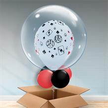Personalisable Inflated Casino | Cards and Dice Balloon Filled Bubble Balloon in a Box