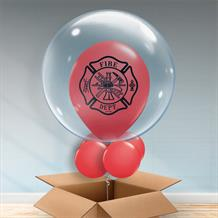 Personalisable Inflated Fire Dept Balloon Filled Bubble Balloon in a Box