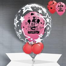 Personalisable Inflated Mickey and Minnie Mouse I Love You Balloon Filled Bubble Balloon in a Box