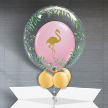 Personalisable Inflated Pink Flamingo | Elegant Greenery Balloon Filled Bubble Balloon in a Box