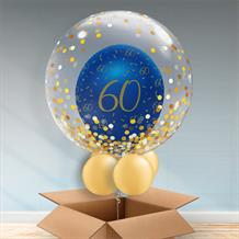 Personalisable Inflated Navy Blue and Gold Geode 60th Birthday | Gold Confetti Dots Balloon Filled Bubble Balloon in a Box