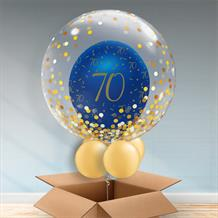 Personalisable Inflated Navy Blue and Gold Geode 70th Birthday | Gold Confetti Dots Balloon Filled Bubble Balloon in a Box