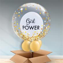 Personalisable Inflated Girl Power | Gold Confetti Dots Balloon Filled Bubble Balloon in a Box