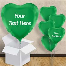 "Personalisable Dark Green Heart 18"" Foil Balloon in a Box"