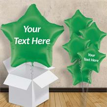 "Personalisable Dark Green Star 18"" Foil Balloon in a Box"