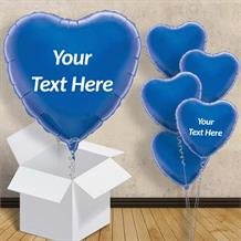 "Personalisable Dark Blue Heart 18"" Foil Balloon in a Box"