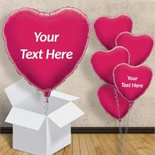 "Personalisable Hot Pink Heart 18"" Foil Balloon in a Box"