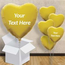 "Personalisable Gold Heart 18"" Foil Balloon in a Box"