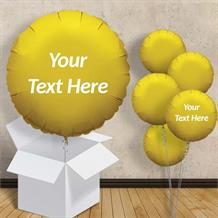"Personalisable Gold Circle 18"" Foil Balloon in a Box"