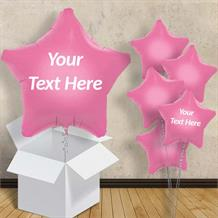 "Personalisable Baby Pink Star 18"" Foil Balloon in a Box"