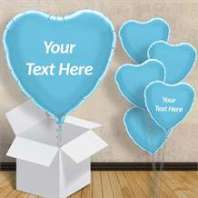 "Personalisable Baby Blue Heart 18"" Foil Balloon in a Box"