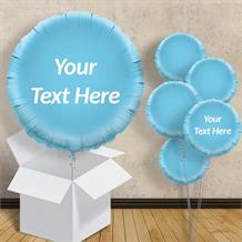 "Personalisable Baby Blue Circle 18"" Foil Balloon in a Box"