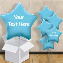 "Personalisable Baby Blue Star 18"" Foil Balloon in a Box"