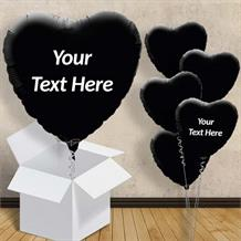 "Personalisable Black Heart 18"" Foil Balloon in a Box"