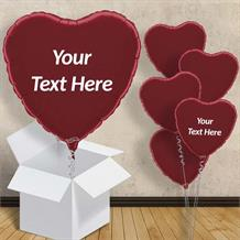 "Personalisable Burgundy Heart 18"" Foil Balloon in a Box"