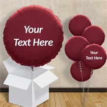 "Personalisable Burgundy Circle 18"" Foil Balloon in a Box"