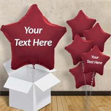 "Personalisable Burgundy Star 18"" Foil Balloon in a Box"