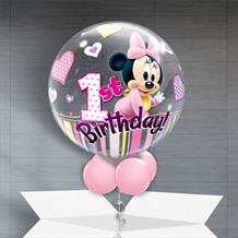 "Baby Minnie Mouse 1st Birthday 22"" Bubble Balloon in a Box"