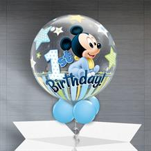 "Baby Mickey Mouse 1st Birthday 22"" Bubble Balloon in a Box"