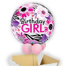 "Birthday Girl Flowers Zebra Print 22"" Bubble Balloon in a Box"