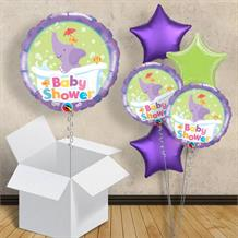 "Purple Elephant | Baby Shower 18"" Balloon in a Box"