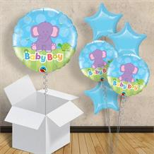 "Baby Boy Blue Elephant | Baby Shower 18"" Balloon in a Box"