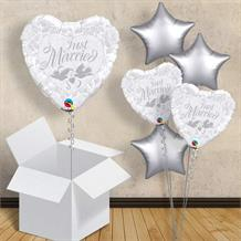 "Just Married Silver and White Heart | Wedding 18"" Balloon in a Box"