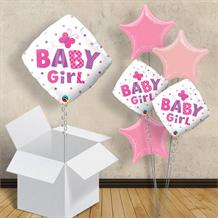 "Baby Girl Butterfly Diamond | Baby Shower 18"" Balloon in a Box"