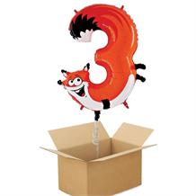 Zooloons Fox Giant Number 3 Balloon in a Box Gift