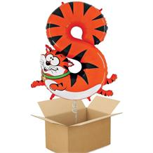 Zooloons Cat | Tiger Giant Number 8 Balloon in a Box Gift