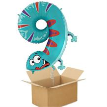 Zooloons Gecko Giant Number 9 Balloon in a Box Gift