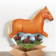 Light Brown Horse Giant Shaped Balloon in a Box Gift