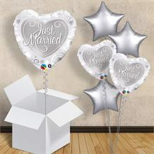 "Just Married Silver Heart | Wedding 18"" Balloon in a Box"