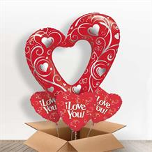 Heart | Filigree Red Giant Shaped Balloon in a Box Gift