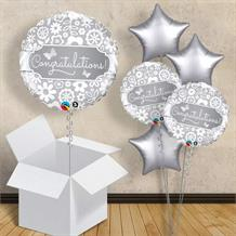 "Silver Butterflies Congratulations 18"" Balloon in a Box"