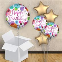 "Pastel Dots Happy Birthday 18"" Balloon in a Box"