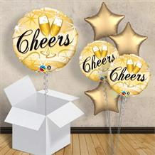 "Cheers Glasses Gold 18"" Balloon in a Box"